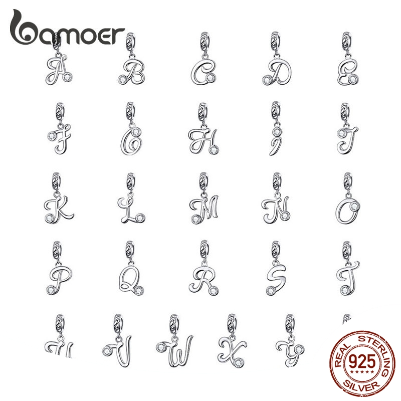 BAMOER 26 Letters Alphabet Pendant 925 Sterling Silver Handwritten Language Pendants Charm For Bracelets And Necklace SCC1183
