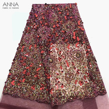 Anna latest french sequin laces fabrics high quality tulle lace fabric with african embroidery fabric 5 yards/pieces for dresses beautifical lace african fabrics african tulle laces designer lace fabric white lace fabric high quality 5 yards lot ml4n705
