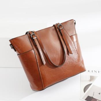 Women Genuine Leather Bags Large Bag Fashion Simple Retro Oil Wax Cowhide Women Shoulder Large Bag Hand Shoulder Bag Women