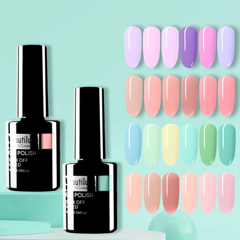 Beautilux Gel Nail Polish Light Color Nails Art Gels Varnish Soak Off UV LED Semi Permanent Nail Polish Lacquer 10ml