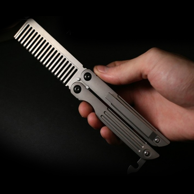 A181 Free Shipping Double-headed Butterfly Comb Comb Pure Titanium Comb Titanium TC4  Alloy EDC Practice Training Play Tool