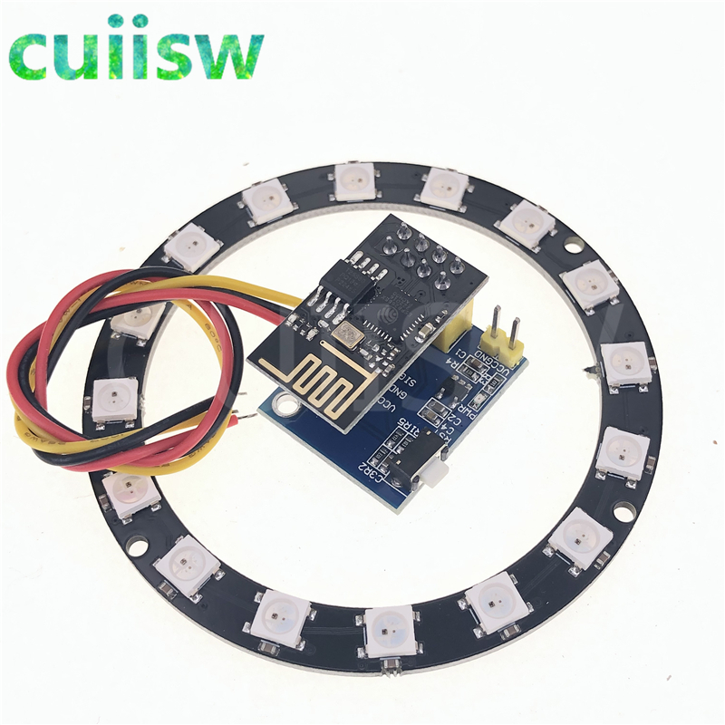 ESP8266 ESP01 ESP-01 RGB светодиодный контроллер Adpater WIFI модуль для Arduino IDE WS2812 WS2812B 5050 16 бит световое кольцо Рождество DIY