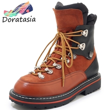 DORATASIA New Brand Ladies Genuine Leather Booties Metal Decoration Shoes Woman Casual Chunky Heels Ankle Boots Women 2019 knsvvli new genuine leather ankle boots women chunky high heels pointed zip martin boots metal buckle decorate woman booties