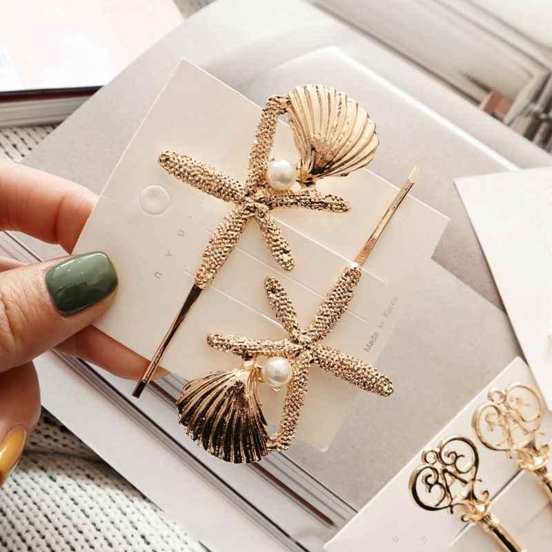 1 Pcs Fashion Starfish Kreatif Gunting Bentuk Wanita Wanita Gadis Rambut Klip Mutiara Halus Rambut Pin Rambut Jepit Rambut Aksesoris