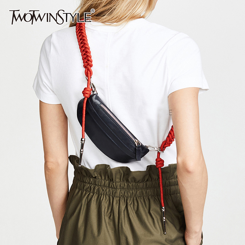 TWOTWINSTYLE Elegant PU Leather Women Bag Patchwork Hit Color Asymmetrical Bags Female Fashion Clothing 2020 Summer Accessories