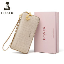 FOXER Women Cow Leather Long Wallet Fashion Wristlet Clutch Purse Cellphone bag with Wrist Strap Wallets for Women hot sell new thick purse fashion women zipper wallet wristlet bag with serpentine genuine cow leather