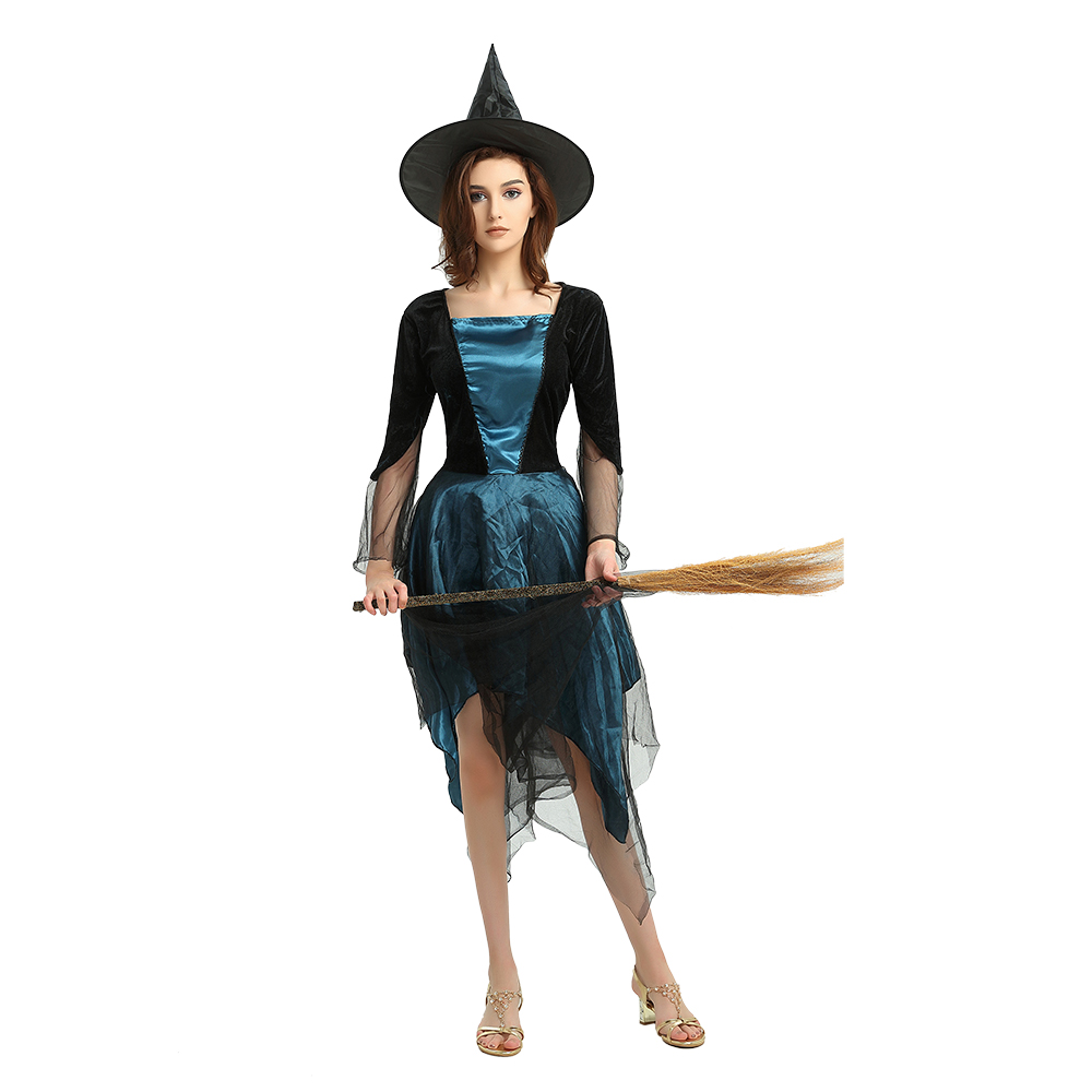Witch Cosplay Costume Outfit Irregular Longsleeve Elegant Dress Halloween Costumes For Women