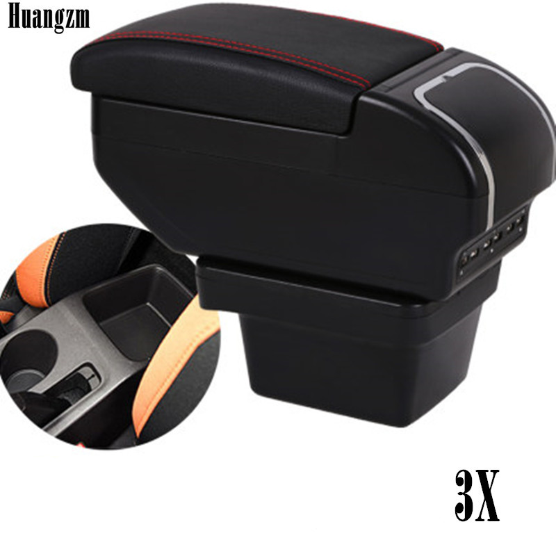Dual layer Large Space Armrest box For Chery Tiggo 3X tigo2 Central Store Content box with Cup holder 9 USB Charging modificatio(China)
