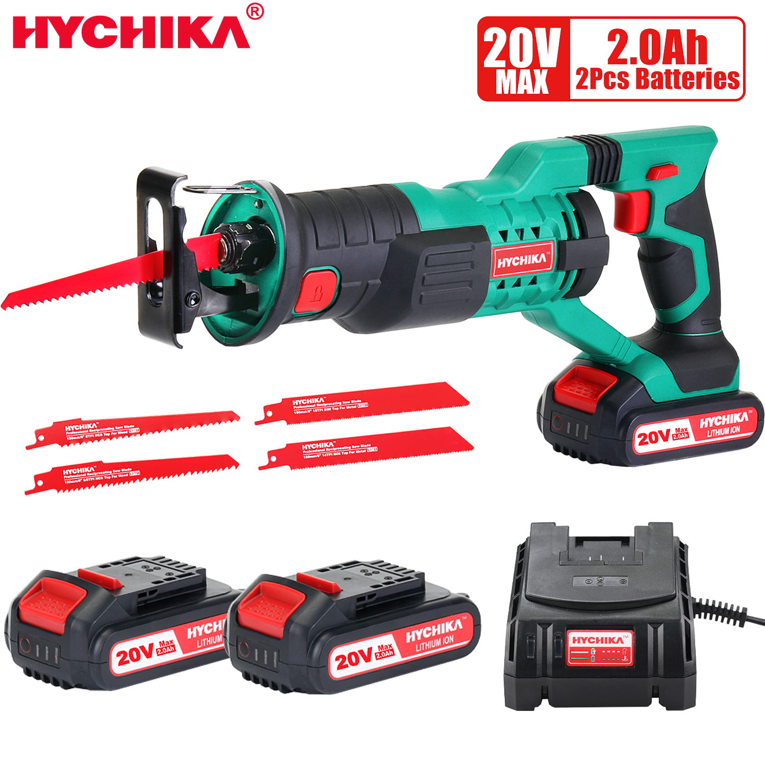 HYCHIKA 20V Cordless Reciprocating Saw Multifunction Electric Saw for metal wood meat bone pipe cutting saw with blade kit