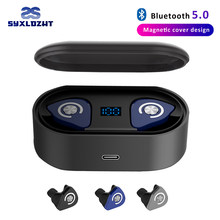 M9 TWS Bluetooth Earphone Wireless Headphones 8D Stereo True Wireless Earbuds sports HiFi Bass headset with dual mic(China)