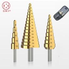 цена на 3PC HSS Steel Cone Drill 4-12mm 4-20mm 4-32mm Titanium Step Cone Drill Bit Hole Cutter for Woodworking Wood Metal Drill Bits
