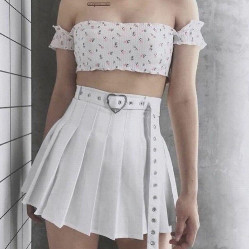 Harajuku Heart-Buckle Belt Pleated Skirt Women Schoolgirl Cheerleading Belted Mini Skirt /