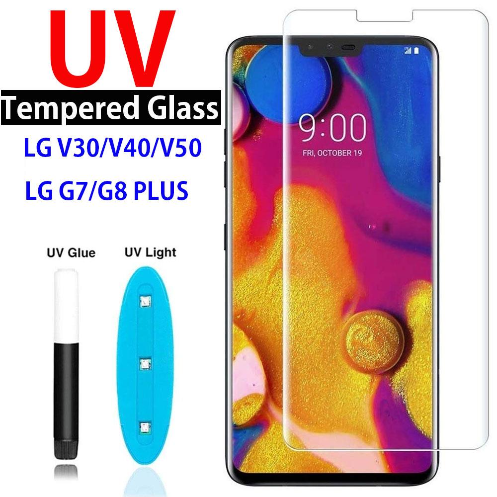 9D Curved UV Nano Liquid Tempered Glass Case For LG V30 V40 V50 Full Coverage UV Film For LG G7 G8 Plus Thinq Screen Protector
