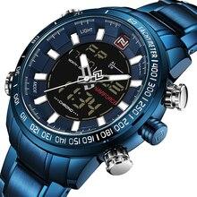 NAVIFORCE zegarki mężczyźni pełna stal kwarcowy zegar cyfrowy wodoodporny zegarek męskie modne niebieskie zegarki Relogio Masculino Dropshipping