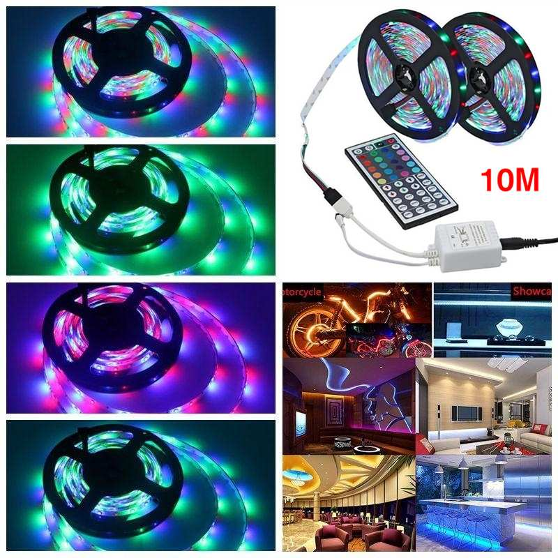 3/5/10M 3528 SMD RGB 600 LED Strip Non-waterproof Light String Tape 12V + 44 Key IR Remote Control For Home Decoration