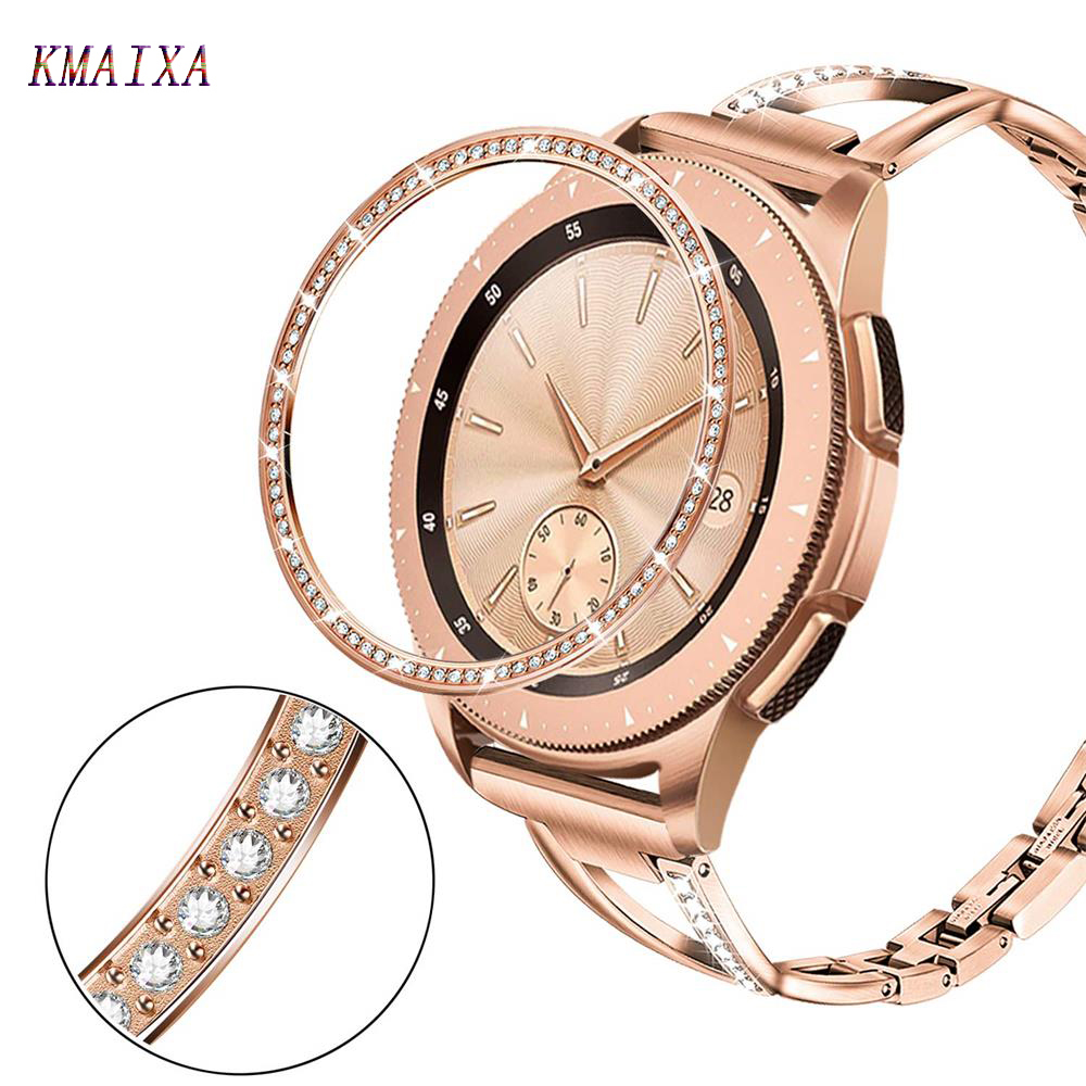 Bling cover For Samsung Galaxy Watch 46mm 42mm gear s3 cover Diamond Metal Ring Adhesive Cover Anti watch Accessories s 3 46 mm