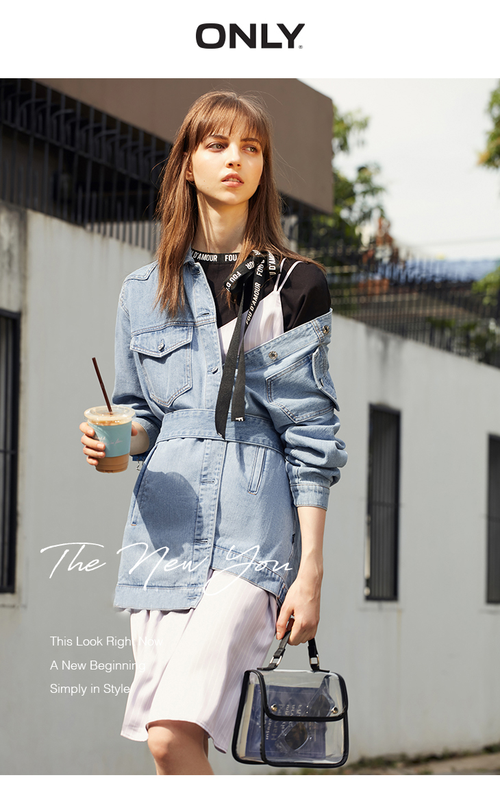 ONLY 19 Women's Loose Fit tie-up Casual Denim Jacket |119154529 5