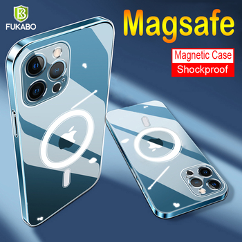 Luksusowy telefon magnetyczny przezroczysty futerał na Apple iPhone 12 Pro Max MagSafe bezprzewodowe odporne na wstrząsy etui na iPhone 12 Mini tylna okładka tanie i dobre opinie FUKABO CN (pochodzenie) Częściowo przysłonięte etui Magnetic MagSafe Clear Case Zwykły przezroczyste Anti-fingerprint