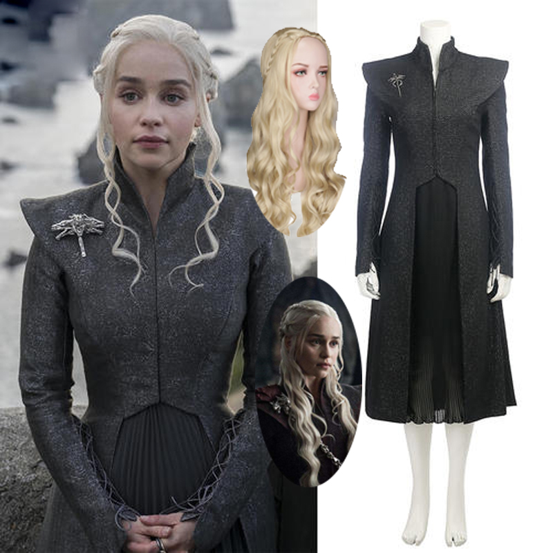 Game of Thrones Season 7 Daenerys Targaryen Cosplay Costume Adult Female Mother of Dragons Halloween Dress Suit for Party Wig image