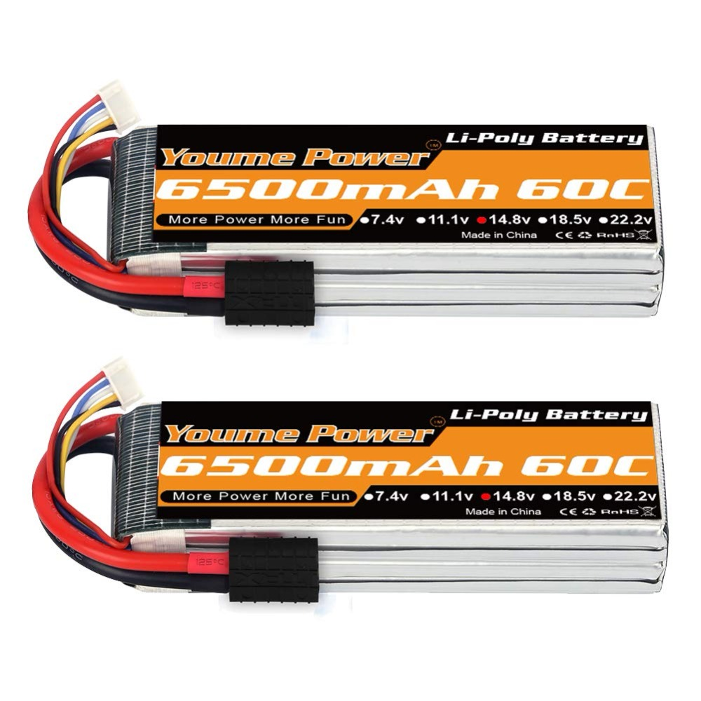 2pcs Youme 4S Lipo 6500mah 14.8v RC Battery 60C with Deans XT60 Connectors for 1/10 1/12 RC Car trucks Airplane Drones Boat Tank
