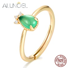 ALLNOEL 925 Silver Adjustable Ring 100% Natural Moissan Garnet Opal Gemstone Ring Real Gold Party Engagement Ring Fine Jewelry