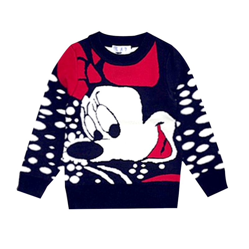 Cartoon Mickey Children's Clothing Plush inside winter boy girl kid thick Knitted high collar pullover fluff kids Sweaters 4