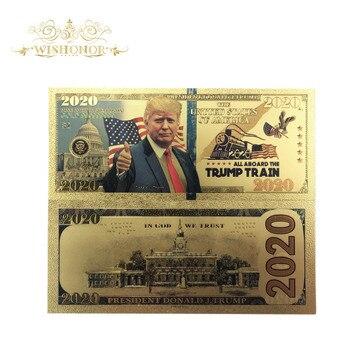 1 шт., новогодние банкноты «Трамп» в американском стиле 2020, купюры в долларах 24 К, позолоченные бумажные деньги для подарков