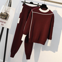 Plus Size 4XL Women Knitted 2 Piece Set Casual Sport Suit Long Sleeve Pullover Sweater+Pant Autumn Winter 2Pcs Clothes Tracksuit