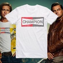лучшая цена ONCE UPON A TIME IN HOLLYWOOD BRAD PITT CHAMPION AUTO LOGO T SHIRT MEN CASUAL TEE USA SIZE S-3XL