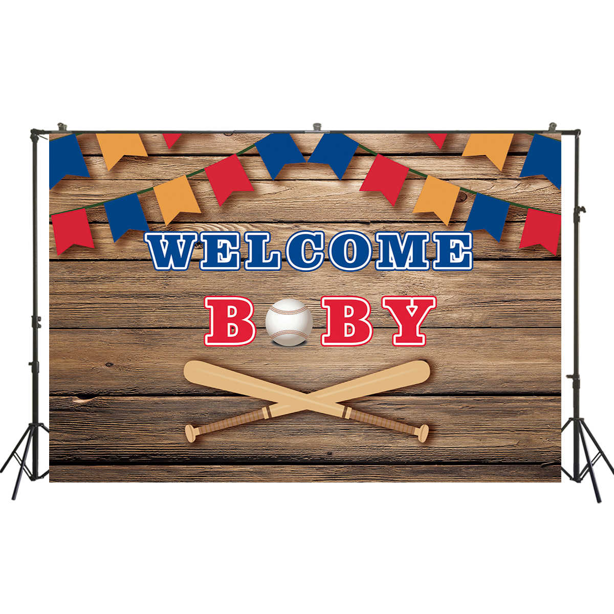 Baseball Baby Shower Photo Booth Backdrop Cubs Theme Custom Step and Repeat Backdrop Welcome Baby,Sports Backdrop BBS0053