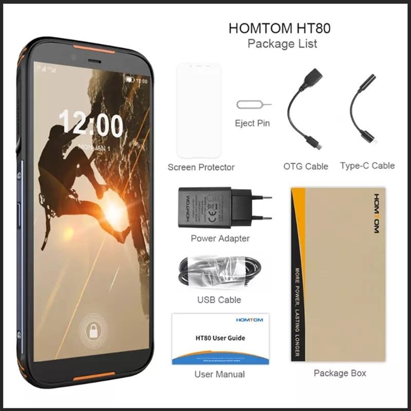 Original HOMTOM HT80 IP68 Wasserdichte Smartphone 4G LTE Android 10 5.5 MT6737 2GB 16GB NFC Wireless ladung SOS Handy