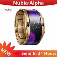 Original nubia alpha relógios inteligentes 4.01 polegada tela oled nubia alpha relógio de telefone celular 500mah 1gb ram 8gb rom snapdragon 8909w