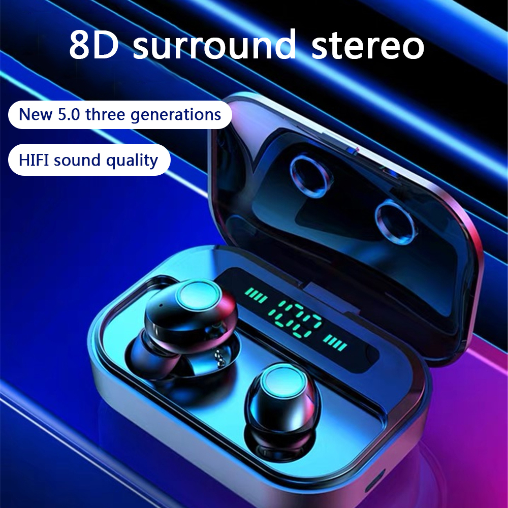 M7 Sport Wireless Headphones 8D Stereo Cordless Earbuds Headsets With 3600mAh Charger Box TWS Bluetooth Earphone Power Display