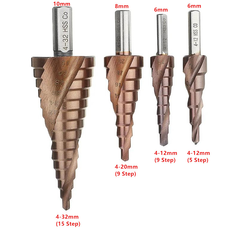 HSS-Co M35 Cobalt Step Drill Bit Triangle Shank 4-12/4-20/4-32mm Spiral Flute Step Cone Drill Stainless Steel Hole Saw Cutter