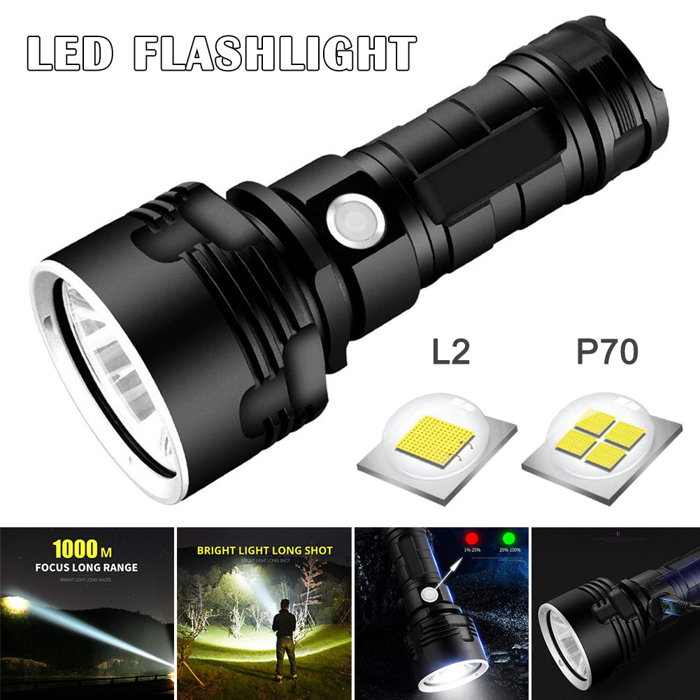 LED Powerful Flashlight Rechargeable Super Bright Long-range High-power Outdoor Home Searchlight J8 #3
