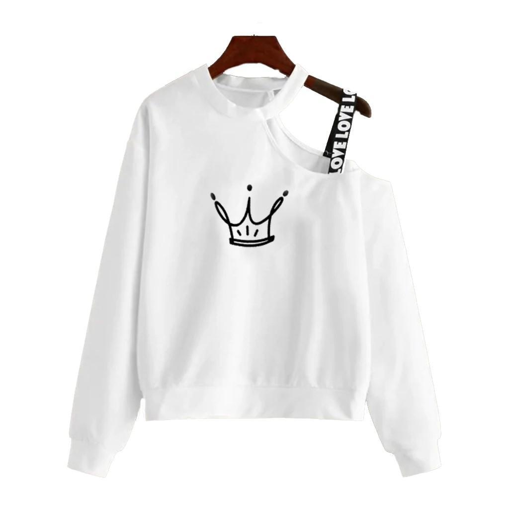 H978760e6d62f48d9af089597e52c4010A - Ladies Crop Fluffy Sweatshirt Women Off Shoulder Strap Crop Top Long Sleeves Skew Collar Cartoon Print Anime Clothes Black White