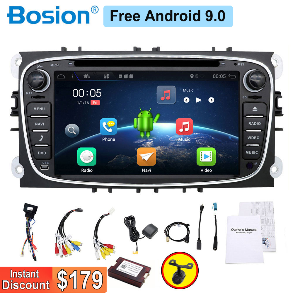2 rádio do carro din Android dvd carro leitor de cassetes para ford para a focus 2 carros gravador de navegação gps com wifi volante