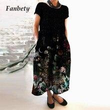 Verão vintage floral imprimir solto midi vestido feminino elegante em torno do pescoço manga curta vestido de festa feminino casual plusa tamanho