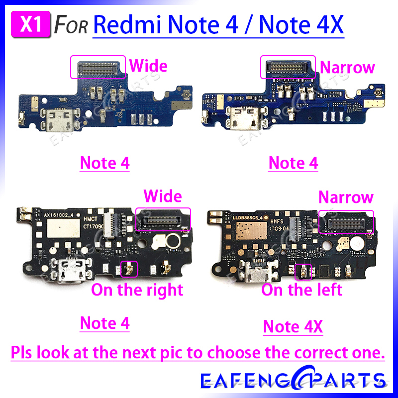 Repair Parts PCB Board Ribbon Flex For Xiaomi Redmi Note 4X 4 USB Charging Port Flex Cable Charger Dock Connector