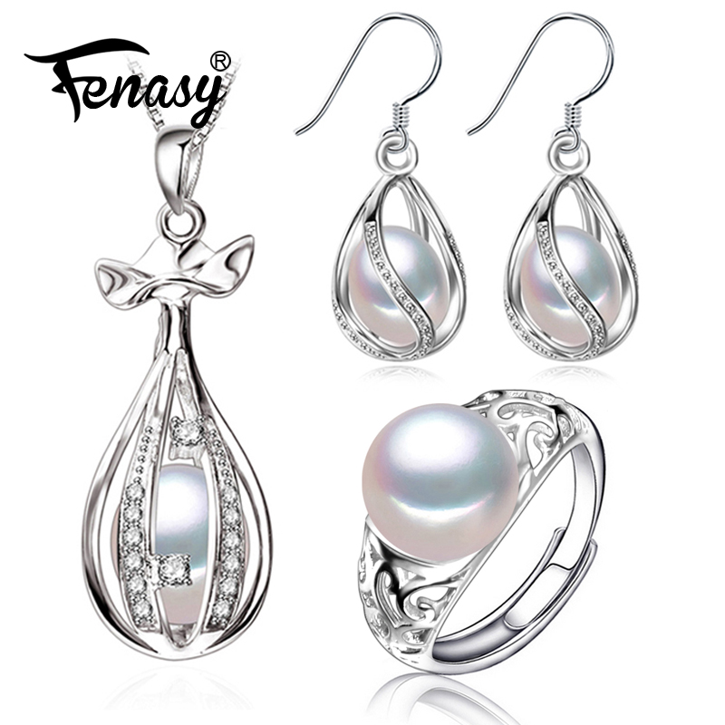 FENASY Necklace Pearl Cage-Earrings Jewelry-Sets Pendant 925-Sterling-Silver Natural
