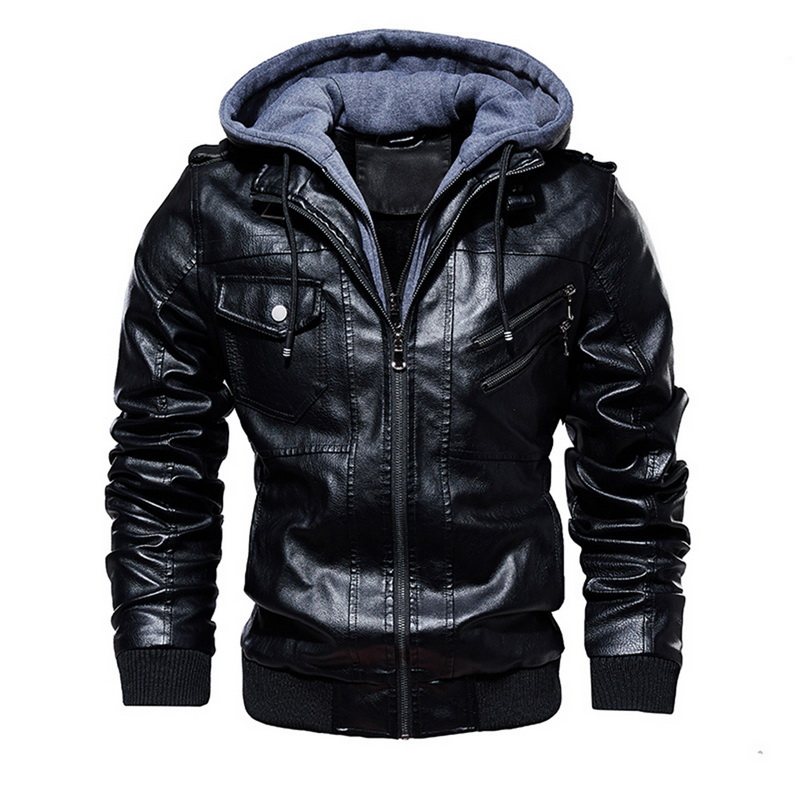 Moda pu jaquetas homens outono inverno quente blusão com capuz jaqueta de couro da motocicleta masculino beisebol zíper bolsos casaco outwear