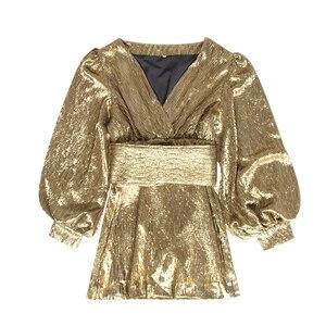Image 3 - TWOTWINSTYLE Patchworkชุดเลื่อมสำหรับผู้หญิงโคมไฟแขนเสื้อVคอสูงเอวเซ็กซี่Party Dressesหญิงแฟชั่นฤดูใบไม้ร่วง 2020 ใหม่