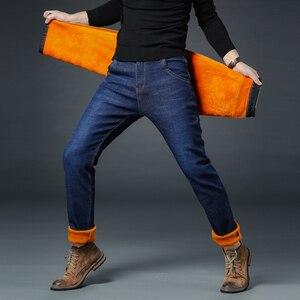 Image 5 - 2020 zima nowy marka męska ocieplane dżinsy dorywczo rozciągliwe dopasowanie spodnie dżinsowe męskie duże rozmiary męskie spodnie 40 42 44 46 czarny niebieski