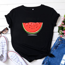 Fashion Casual Summer Women's T-shirt Happiness is Watermelo