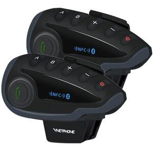 Image 2 - 2 pièces VNETPHONE V8 SV interphone sans télécommande 5 voies groupe parler Bluetooth casque de moto casque FM NFC 1.2KM