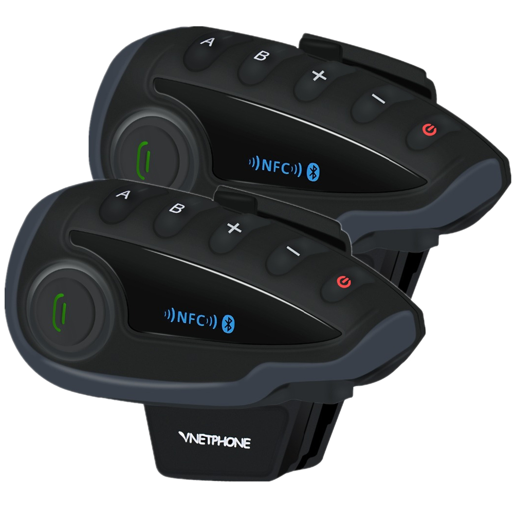2pcs VNETPHONE V8 SV Intercom Without Remote Control 5-Way Group Talk Bluetooth Motorcycle Helmet Headset FM NFC 1.2KM