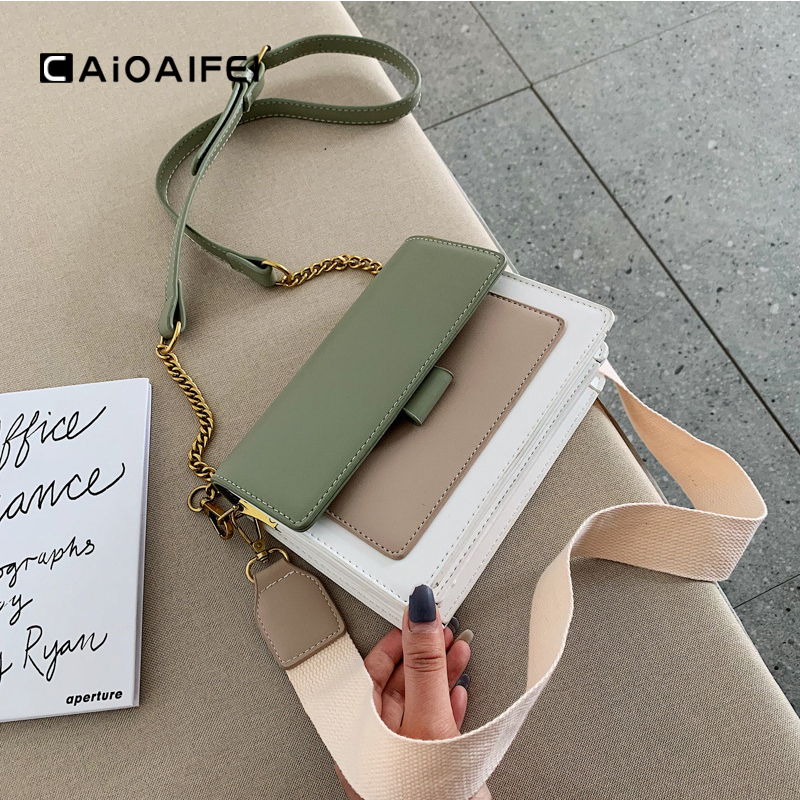 CAIOAIFEI Fashion Chain Crossbody Bags For Women Wide Shoulder Strap Female Flap Bag Cell Phone Bag Women Leather Shoulder Bags