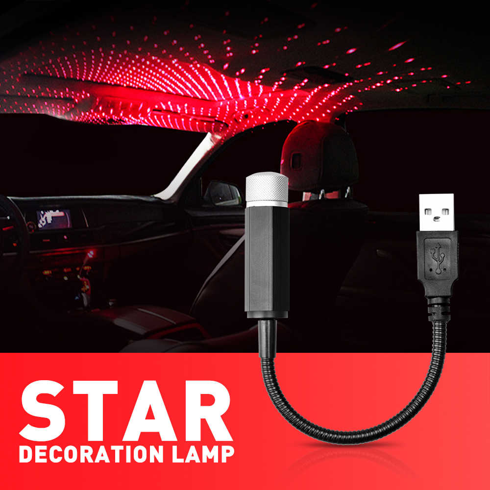 Auto USB LED Starlight Sterrenhemel Ster Licht Projector Auto Lamp LED Omgevingslicht Automotive Decoratieve Sfeer Lamp