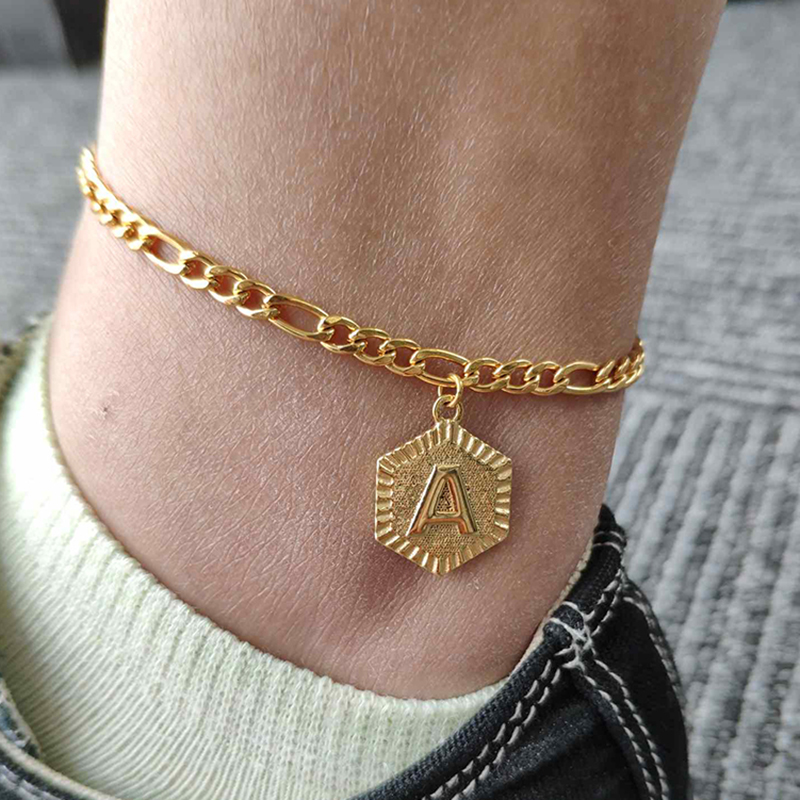 A-Z Letter Hexagon Initial Anklets For Women Gold Stainless Steel Ankle Bracelet On The Leg Alphabet Female Foot Chain Jewelry