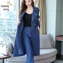 Fashion Womens Office Suit European Style Lace Up Striped Denim Long Coats Loose Straight Leg Pants Two Pieces Set Blue(China)
